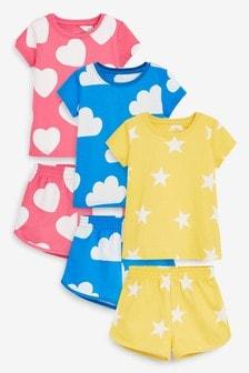 3er-Pack Kurz-Pyjamas mit Herz/Wolken/Sternen (9Monate bis 8Jahre)