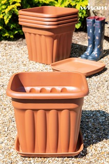 Set of 5 Vista 49cm Sqaure Tray And Garden Planters by Wham