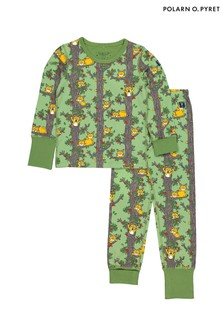 Polarn O. Pyret Green Organic Cotton Sleepy Cat Pyjamas