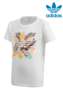 adidas Originals White Tropical Graphic T-Shirt