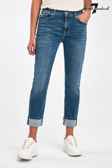 7 For All Mankind Blue Wash Relaxed Skinny Fit Crop Jeans