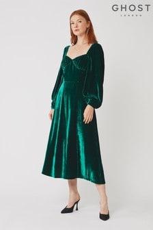 Ghost London Green Averie Silk Velvet Dress