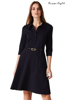 Phase Eight Blue Enola Belted Ponte Shirt Dress