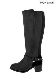 Monsoon Black Edie Long Leather Boots
