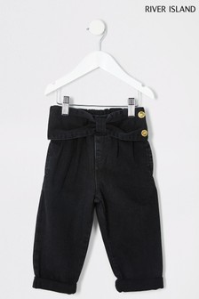 River Island Black Washed Bow Mom Jeans