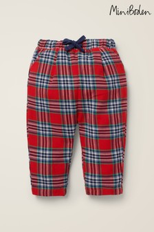 Boden Red Brushed Check Trousers