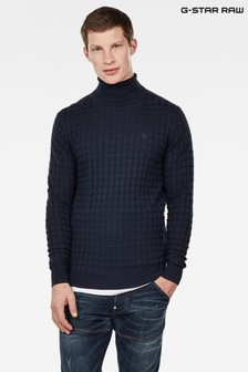 G-Star Blue Core Table Turtle Knit Jumper