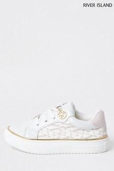 River Island White Nylon Logo Lace-Up Shoes