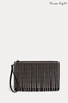 Phase Eight Black Shae Sparkle Front Clutch Bag