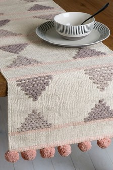 Woven Pom Pom Table Runner