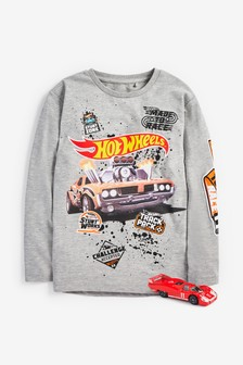 Long Sleeve Hot Wheels T-Shirt With Free Hot Wheels Toy (3-16yrs)