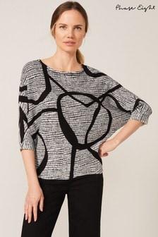 Phase Eight Black Emely Loop Print Knit Top