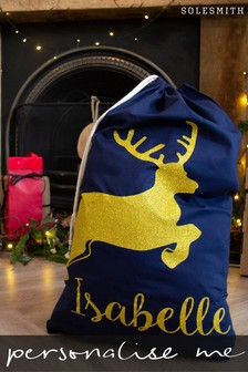 Personalised Glitter Reindeer Sack by Solesmith