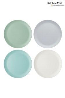 Set of 4 Kitchencraft Colourworks Classic Melamine Dinner Plates