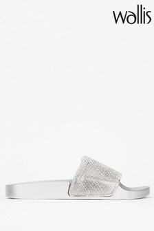 Wallis Shimmering Grey Diamanté Sliders