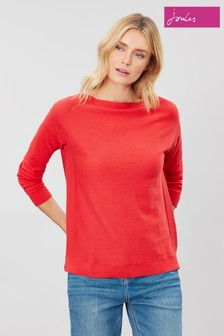 Joules Red Bess Jumper With Side Seam Rib