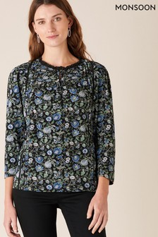 Monsoon Black Floral Print Top With Organic Cotton