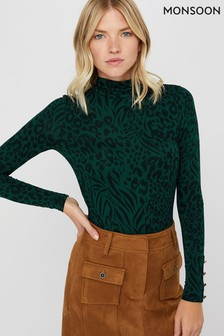 Monsoon Ladies Green Andora Animal Print Polo Neck Jersey Top