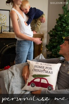 Personalised Home For Christmas Cushion by Solesmith