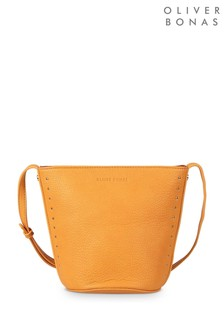Oliver Bonas Yellow Macie Micro Stud Bucket Cross Body Bag