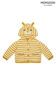 Monsoon Newborn Bear Stripe Knit Cardigan