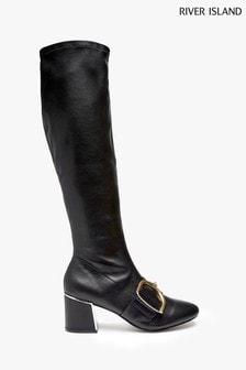 River Island Black Terror Buckle High Leg Boots