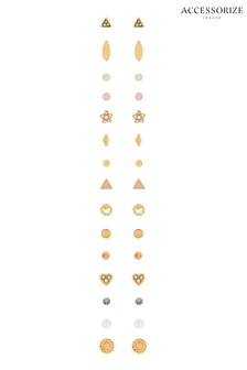 Accessorize Gold Tone Fem Chic Stud Pack