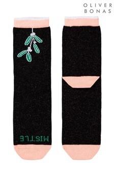 Oliver Bonas Black Mistle Toes Socks