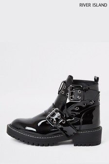River Island Black Quaver Cut Out Chunky Boots
