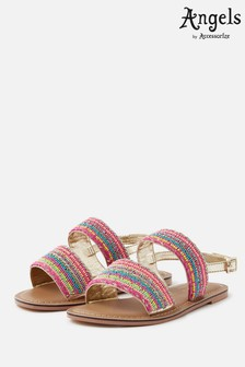 Angels By Accessorize Gold Tropical Beaded Sandals