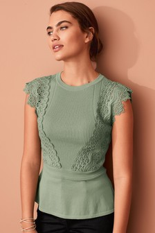 Lace Detail Peplum Top