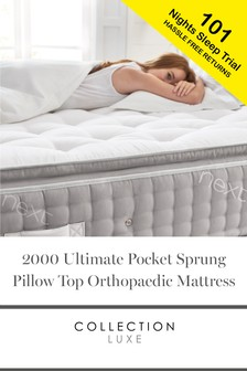 2000 Pocket Sprung With Pillow Top Collection Luxe Orthopaedic Mattress
