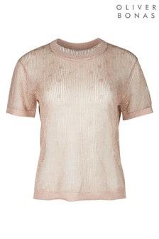Oiver Bonas Gold Spot Metallic Mesh Knitted Top