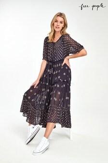 Free People Black Stella Print Maxi Dress