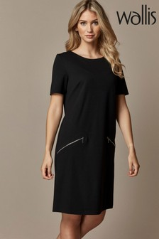 Wallis Black Zip Ponte Shift Dress