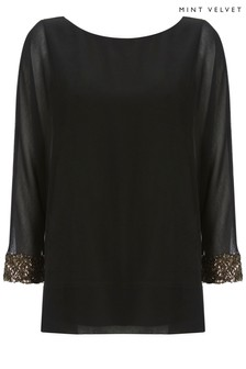 Mint Velvet Black Sequin Batwing Bow Back T-Shirt