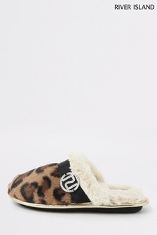 River Island Brown Leopard Mule Slippers