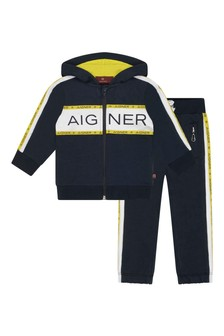 Baby Boys Navy Cotton Logo Tracksuit