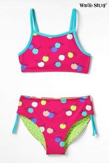 White Stuff Green Kids Fruit Spot Reversible Bikini