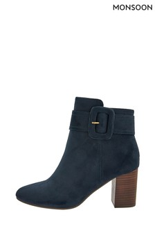 Monsoon Blue Bex Suedette Buckle Boots