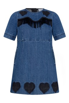 Girls Blue Denim Fringed Dress
