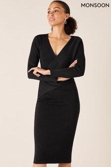 Monsoon Black Lurex Wrap Knitted Dress
