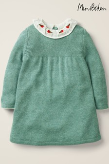 Boden Green Embroidered Knitted Dress