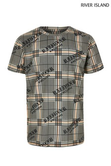 River Island Brown Check Print Gothic Tee