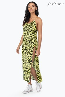 Hype. Yellow Neon Leopard Maxi Dress