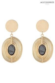 Accessorize Gold Shell Spiral Drop Earrings