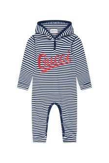 Baby Boys Navy Cotton Logo Striped Hooded Babygrow