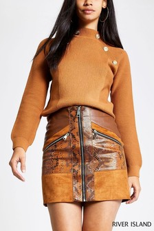 River Island Toffee Connoley Gold Buttons Jumper