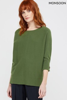 Monsoon Green Darelle Dolman Jumper