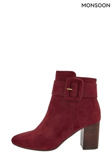 Monsoon Red Bex Suedette Buckle Boots